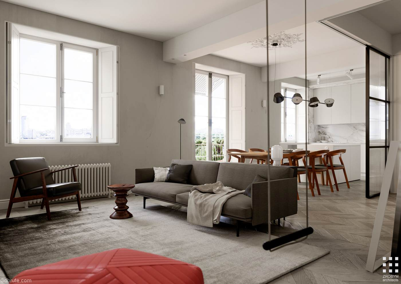stunning vintage modern living room honeysuckle life   62m2 personality apartment design - Download -3d Models ...