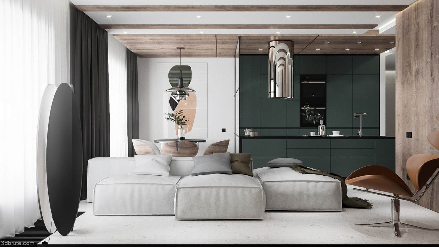 Vintage Dark Green 72m2 Elegant Fashion Apartment Innoi Design Download 3d Models Free 3dbrute